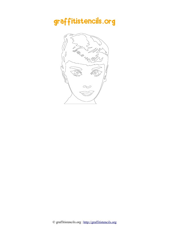 Audrey Hepburn People Faces Stencil Outline