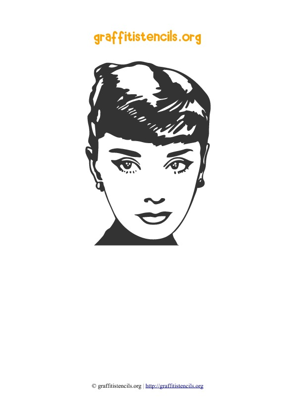 Audrey Hepburn People Faces Stencil